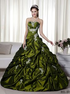 Olive Green Appliqued Sweetheart Long Dress For Quinceanera with Pick-ups