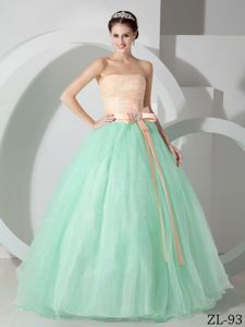 Cute Peach and Green Strapless Full-length Dresses For Quinceanera with Sash