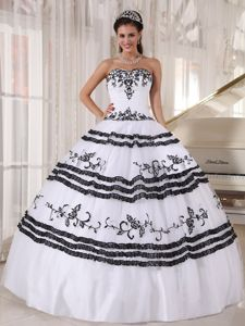 White and Black Sweetheart Long Dress For Quinceanera with Embroidery