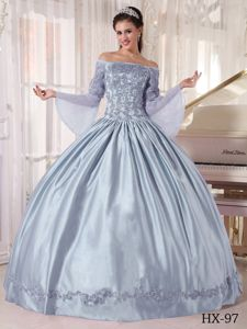Silver Off The Shoulder Long Sleeves Quinceanera Dresses with Appliques