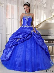 Blue Appliqued Strapless Long Quinceanera Gown with Pick-ups in Duluth