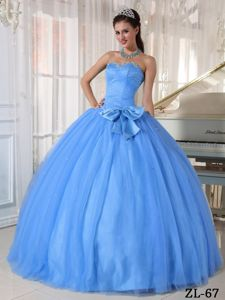 Lovely Baby Blue Sweetheart Beaded Tulle Dresses for Quince with Bowknot