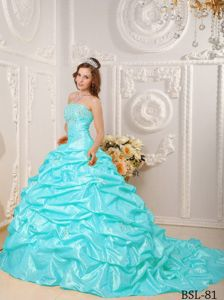 Best Strapless Aqua Blue Court Train Sweet 16 Dresses with Beading Appliques