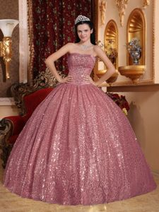 Sequins Over Skirt Ball Gown Quinceanera Gown near Anacortes for Quince