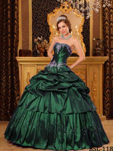 Embroidery and Paillettes Dark Green Puffy Quinceanera Gown in Princeton