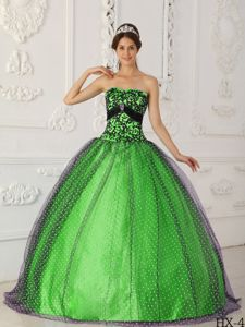 Black and Green Tulle Quinces Dresses with Embroidery near Morgantown