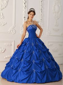 Embroidery Ruche and Pick Ups Blue Sweet Sixteen Dresses in Puyallup