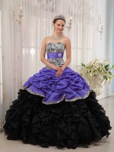 Zebra Pick Ups and Ruffled Layers Multi-color Quinceanera Dresses on Sale