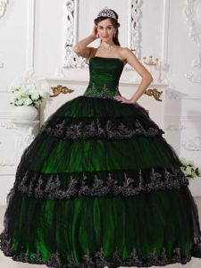 Strapless Floor-length Appliqued Quinceanera Dress in Green in Mercedes Costa Rica