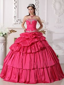 Hot Pink Sweetheart Taffeta Beaded Ruched Quinceanera Dress in Curridabat