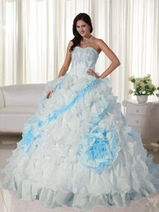 White Sweetheart Organza Appliqued Quince Dress with Court Train