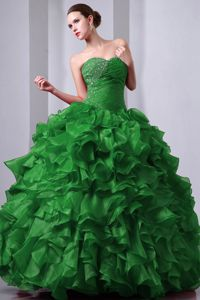 Green Sweetheart Floor-length Beaded Quince Dress with Ruffles in Tulua