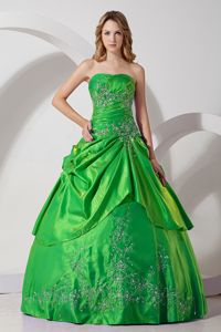 Strapless Taffeta Embroidered Quinceaneras Dresses in Green in Sincelejo