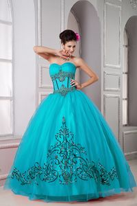 Teal Sweetheart Floor-length Tulle Beaded Quinceanera Dresss in Monteria