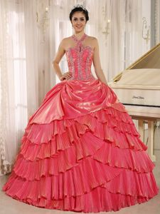 Halter Watermelon Pleated Quinceanera Dress with Beading in Ibague Colombia