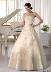Champagne Ruche Embrodery and Ruche Sweet Sixteen Dress near Spencer
