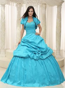 Embroidery Ruche and Pick Ups Aqua Blue Dress for Quince in West Liberty