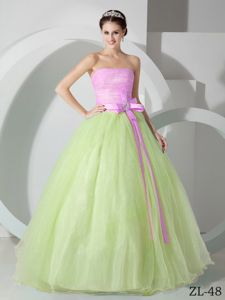 Pink and Green A-line Strapless Sweet Sixteen Dresses in Summersville