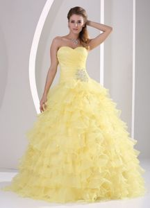 Yellow Princess Ruche and Ruffled Layers Sweet 16 Dresses in Spencer
