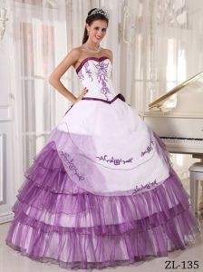 Ruffled Layers Embroidery Purple and White Quinceanera Dresses in Keyser