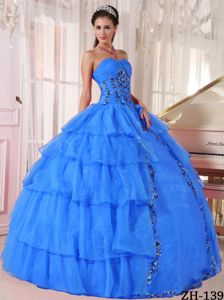Sequins Ruffled Layers and Appliques Quinceanera Gown in Fayetteville