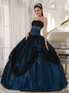Blue and Black Appliques and Pick Ups Quinces Dresses in Saint Albans