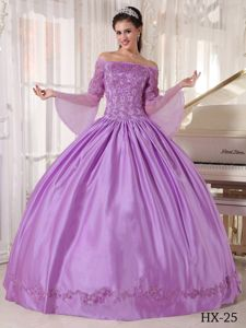 Off The Shoulder Long Sleeves Dress For Quinceanera in Lilac near Athens