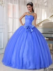 Ball Gown Ruche Sequins and Bowknot Decorated Sweet 15 Dress in Elkins