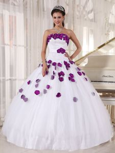Vintage White Beaded Quinceaneras Dress with Purple Floral Appliques