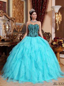 Aqua Blue Ruffled Layers Bodice Puffy Dress for Quince near Charleston