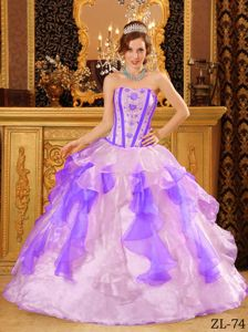 Multi-color Ruffles and Embroidery Quinceaneras Dress near Port Ludlow