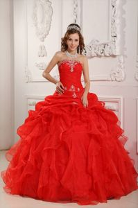 Pick Ups Ruffled Layers Ruching and Embroidery Red Quinceanera Dresses