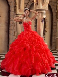 Diamonds Ruching and Ruffles Quinceanera Dress in Red near SeaTac