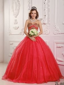 Sequins Bodice Sweetheart Sweet 15 Dresses in Red near Redmond on Sale