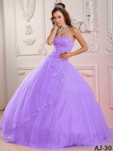 Pretty Lilac Embroidery Decorated Puffy Quinceanera Dress near Kenosh