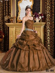 Ruche Appliques and Pick Ups Brown Quinceanera Gown in Bothell