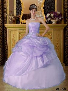 Lilac Ball Gown Strapless Floor-length Organza Beading Ruched Quinceanera Dress