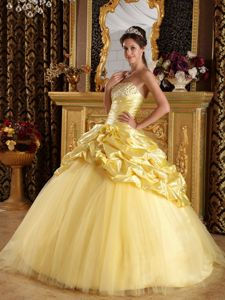 2012 Desirable Yellow Taffeta and Tulle Beading Quinceanera Dress Floor-length