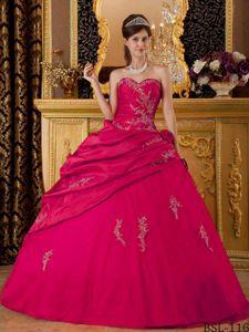 Hot Pink Sweetheart Taffeta Appliques Quinceanera Dress Floor-length in Camp Hill