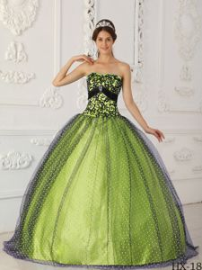 Black and Yellow Green Strapless Beading and Appliques Quinceanera Dress 2013