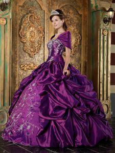 Purple Strapless Taffeta Embroidery Quinceanera Dress Floor-length in Warwick