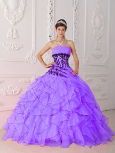 Noble Strapless Appliques and Ruffles Purple Quinceanera Dress in Greenville SC