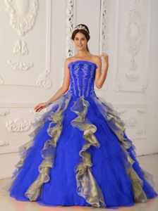 Blue Strapless Appliques and Beading Quinceanera Dress New Style in Columbia