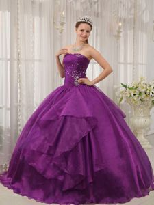 Low Price Purple Strapless Organza Beading Quinceanera Dress in Williamsburg VI