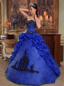 Low Price Blue Strapless Organza Beading and Pick-ups Quinceanera Dress in Sterling