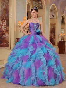 Purple and Aqua Blue Sweetheart Ruffles Organza Quinceanera Dress Manassas VI