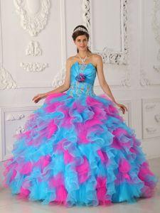 Multi-color Strapless Appliques and Hand-made Flower Dress for Quince in Herndon