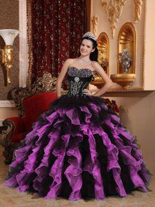 Exclusive Black and Purple Sweetheart Beaded Quinceanera Dress in Harrisonburg