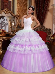 Lilac and White Spaghetti Straps Organza Quinceanera Dress with Appliques in Payson