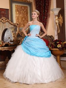 Strapless Taffeta and Tulle Quinceanera Dress with Hand Made Flowers and Beading